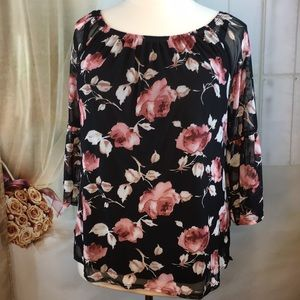 Ashley Blue Black Floral Blouse